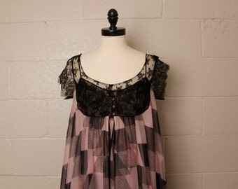 Vintage 1960's Claire Sandra Luci Ann Pink Black Chiffon Lace Nightgown Robe Set Lingerie 32