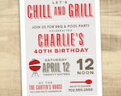 Summer Pool party and BBQ Invitation, Pool party invitation, 40th 30th birthday,  Grill and Chill Invitation, Summer birthday Invitation