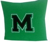 Green Decorative Throw Pillows, Green Embroidered Logo Pillows, Green Sofa Pillow case,  Personalized 16x16 Dorm Decor