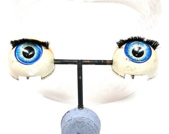 "Antique Doll EYES, Blue metal on rocker, 3/4""  blinking eyes, sleepy eyes. Set F."