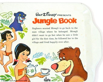 Scarce 60s Tin Toy Tea Tray, Jungle Book, byJ Chein & Disney.