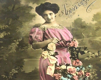 Antique French Postcard, Edwardian lady in pink dress, RPPC paper ephemera.