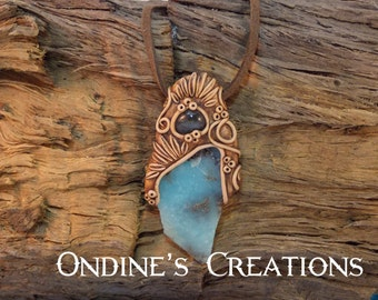 Labradorite, Blue Aragonite Crystal Mineral Healing Stones Hand Crafted Pendant #117