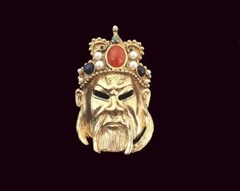 """Vintage Les Bernard Designer Signed Jeweled Face """"Mask"""" Brooch Pin"""