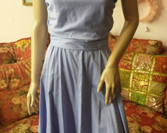 Vintage 90s Periwinkle Blue Cotton Sundress by Willi Smith..Large