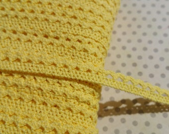 "Yellow Cluny Trim - Narrow Crochet Torchon Cluny Lace - 3/8"" Wide"