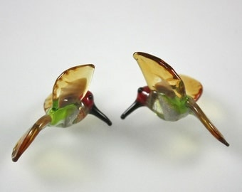Lampwork Beads Glass Anna's  Hummingbird Miniature Bird Beads RC Art Glass Hand Made Lampwork