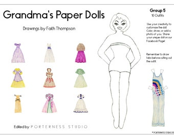 Grandmas Paper Dolls -  1 Doll To Customize And 10 Beautiful Outfits Drawn By Grandma Faith - Group 5 Download Digital PDF