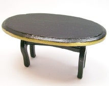 Oval Coffee Table Black Gold Furniture 1:12 Dollhouse Miniature Artisan