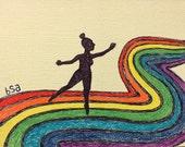 Dancing on a rainbow card