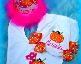 HALLOWEEN Cake Smash Set,  1st Birthday Hat, Bib, and Ribbon Bloomers, Pumpkin Birthday Hat, Pumpkin Birthday Bib,    by Gingham Bunny