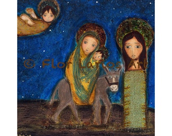 The Flight into Egypt -   Giclee print mounted on Wood (8 x 8 inches) Folk Art  by FLOR LARIOS
