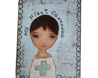 First Communion Boy with Cross - Original Painting on Wood Block by FLOR LARIOS (6 x 8  inches)