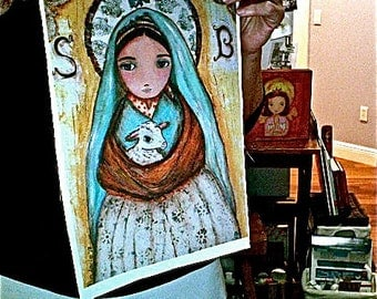 Saint Bernadette -  Print on Fabric from Original Painting (9 x 13 inches) by FLOR LARIOS