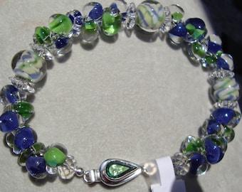 Blue & Green Boro Glass Bracelet
