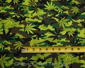 Marijuana Cannabis Weed Herb Pot Leaf Leaves on Camo BY YARDS TT Cotton Fabric