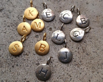 12 Assorted Stamped Initial Charms Sterling Silver and Gold Filled