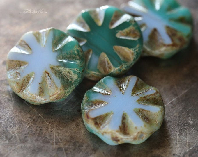 clearance .. BEV .. 4 Premium Picasso Czech Glass Round Window Beads 18mm (4858-4)