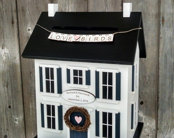 Wedding Card Box Personalized with Names and Date - Custom Color Choices