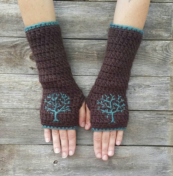 Fingerless Gloves with Embroidered Tree Design, Tree of Life, Dark Brown, Teal, Women's Gloves, Fall, Autumn, Texting Gloves, MADE TO ORDER