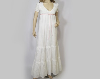 Vintage 70s Dress White Eyelet Maxi Tiered Skirt Empire Sun Dress XS XXS