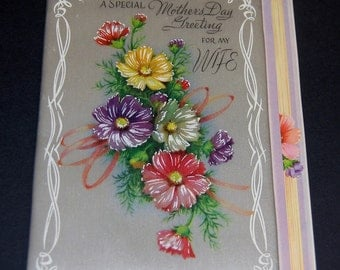 Vintage Rust Craft Greeting Card Padded Satin Beautiful Florals Mother's Day