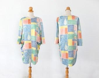 Crayon Dress - - Cute tunic pencil block checked dress puff sleeve S/M