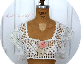 Crochet Camisole Nightgown Top White Crochet Bodice Top Size Small, Petite, Medium Lingerie Top Crop Top Chemise Top Crochet Yoke