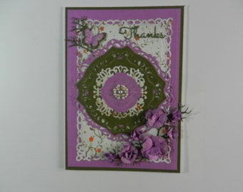 Thanks Card purple and green with flowers