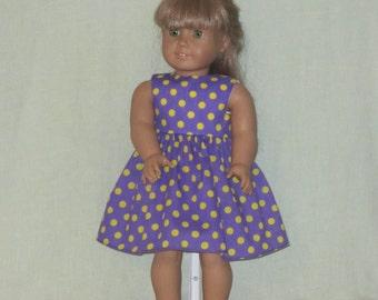 American Girl 18 inch Doll Dress Purple w Polka Dots
