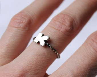 Stackable single Initial Ring , sterling silver with twist band , great for stacking