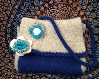 CLEARANCE SALE Hand Crafted Wool Felted Messenger Bag in Blue and White