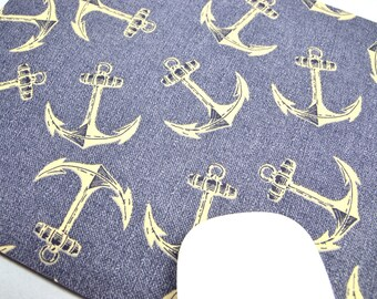 Buy 2 FREE SHIPPING Special!!   Mouse Pad, Computer Mouse Pad, Fabric Mousepad         Nautical Anchors