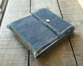 Blue Jean Sketchbook, Small Soft Cover Denim Journal Snap Closure, Repurposed Blue Denim Art Journal , Small Handmade Upcycled Denim Journal