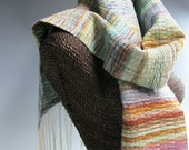 Handwoven Silk and Wool Scarf: Blue Mind, Quilted Sea