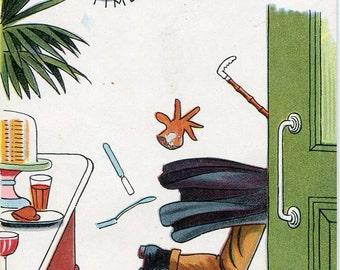 Bar & Bolt vintage postcard, man running for train, Valentine Series vintage postcard, SharonFosterVintage