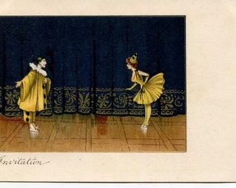 Pierrot and Pierrete. Invitation  Beautiful Art Nouveau artist drawn vintage postcard, ballet postcard