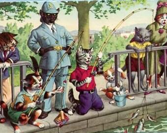 Fishing Mainzer dressed cats Postcard no. 4925, cat postcard, cats postcard, Alfred Mainzer cats postcard