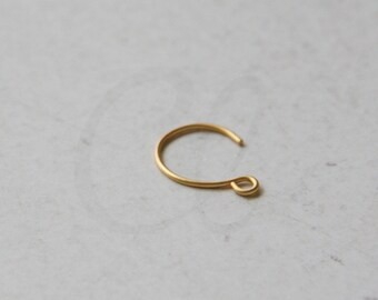 4pcs (2 Pairs) Matte Gold Plated Brass Base Earring Hooks - 13x9mm (440C-N-295)