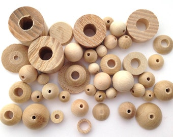 60 Grams Raw Wooden Beads Mix - Assorted Shapes (00272)