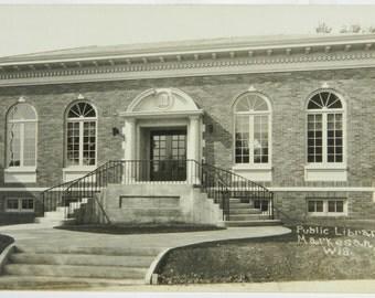 Markesan Wisconsin Public Library Building RPPC Real Photograph Postcard B & W 14882