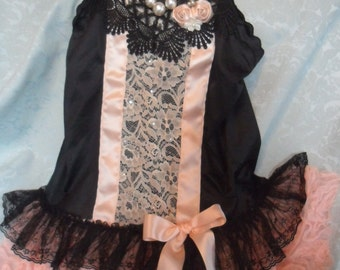 50% OFF - TUNIC Top Whimsical Fairylike Boho Cami Romantic Glam Girl - Tunic - Black and Peach
