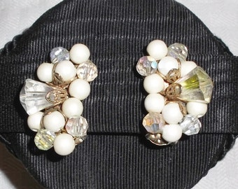 1950s Vintage Large Faux Pearl and Aurora Borealis Beaded Cluster Earrings Clip On Style