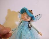 ooak poseable happy sugar plum PIXIE fairy AQUA color elf ( #45 ) polymer clay art doll by DinkyDarlings