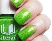 Long May She Reign - Bright Green Chartreuse Microglitter Nail Polish - Fluorescent