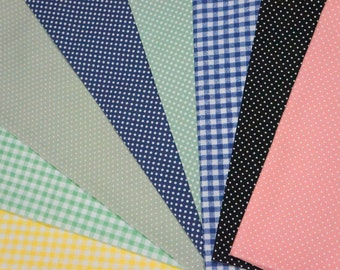 Color basic fabric scrap  set of 8 pieces dots and gingham mix 2016B
