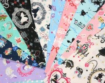 Lolita Harajaku Fabric Alice in Wonderland Scrap set of 10 Pieces