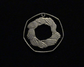 Great Britain - cut coin pendant - Interlocked Hands - 1973