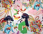 Three (3) Yards -Miss Butterfly Anime-styled print by Alexander Henry Fabircs M6564A White