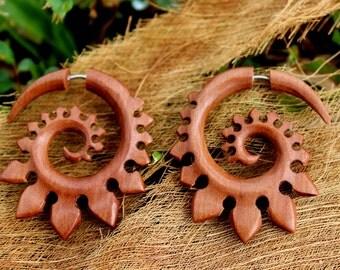 Faux Gauge ,Fake Gauge Earrings,tribal style,Tribal Expander Split,organic ,Fake Piercings, wood